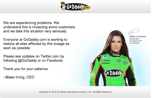 GoDaddy Auctions Down