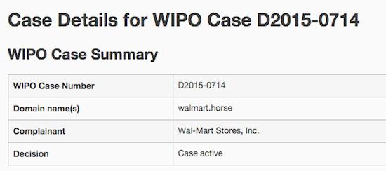 Walmart.Horse UDRP