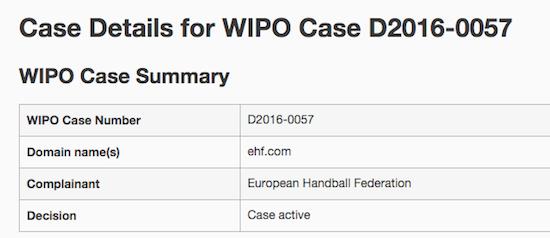 EHF.com UDRP