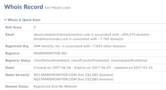 Heart.com Whois Record